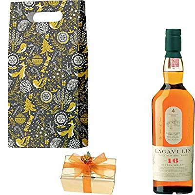 Lagavulin 16 Year Old Single Malt Scotch Whisky Christmas Gift Set With Handcrafted Merry Christmas Gifts2Drink Tag