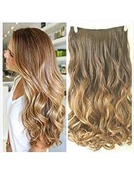 Devalook Extensions de cheveux ondulées à clipser pour couverture intégrale de la tête 6mèches 56cm
