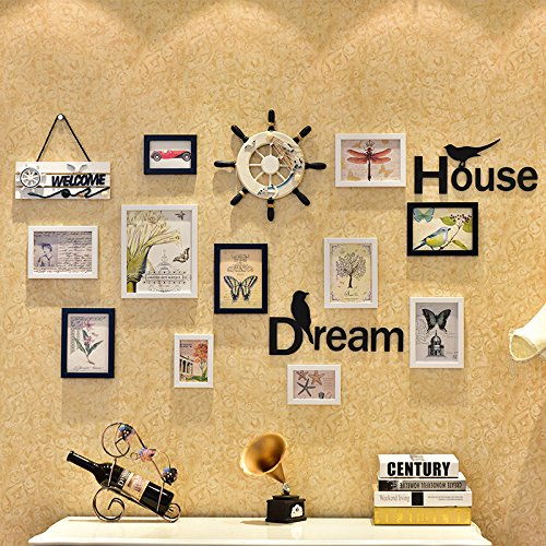 Lx.AZ.Kx Cadres Photo décoration murale de style européen pendaison Clip Salon Nailless Combinaison Cadre photo