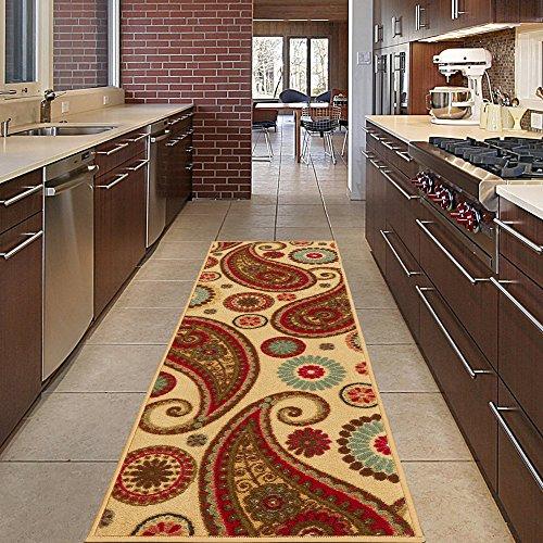 Diagona Designs modernes Paisley Design Rutschfest Küche/Badezimmer/Flur Bereich Teppich Läufer, Paisley Beige, 2'2