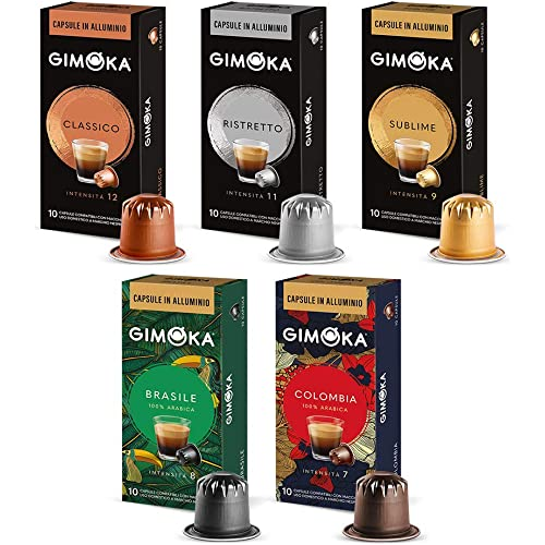 Gimoka Capsule in Alluminio Compatibili Nespresso Assortimento Miscele Caffè E Monorigini - 100 capsule