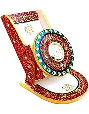 Handicrafts Paradise Rajasthani Work Marble Mobile Holder (9.5 cm x 10.9 cm x 10.2 cm),Multicolor