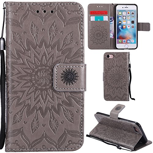 Ooboom® iPhone 5SE Coque Motif Tournesol PU Cuir Flip Housse Étui Cover Case Wallet Pochette Support avec Porte-cartes pour iPhone 5SE - Rouge Gris