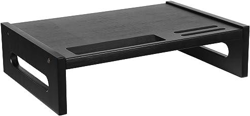 SONGMICS Bambus Monitorständer Bildschirmständer für Den Laptop mit Stauraum ALS Desktop Organizer