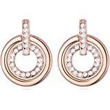 Bianco Crystals from Swarovski Rotondo Cerchio Orecchini a lobo 18 kt placcato oro rosa per donne