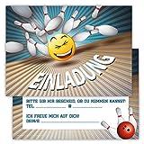 12 Lustige Einladungskarten im Set für Kindergeburtstag Bowling Party für Jungen Mädchen Kinder Kegeln Partyspiele Karten Emoji Smiley Witzig