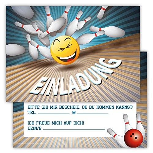 12 Lustige Einladungskarten im Set für Kindergeburtstag Bowling Party für Jungen Mädchen Kinder Kegeln Partyspiele Karten Emoji Smiley witzig (Bowling Geburtstag)