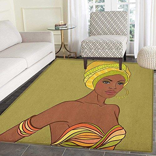 Yaoni Afrikanerin Area Rug Teppich schöne Native Mode Dame Portrait Sexy Kleid Ohrring Turban bilden Wohn-Esszimmer Schlafzimmer Flur Büro Teppich 5