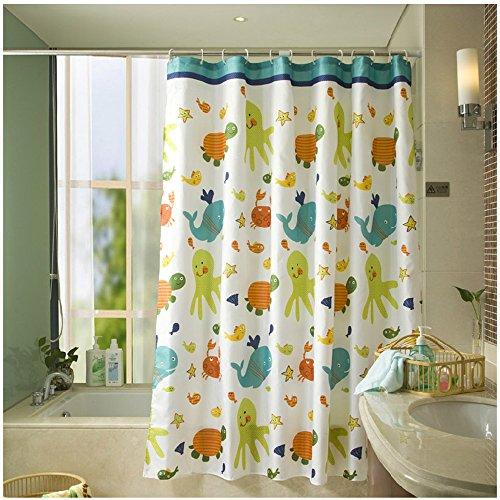 S-ZONE Schildkröten und Fische Drucken Duschvorhang verdicken Anti-Schimmel Textilien Polyester Wasserabweisend 180x180 cm mit 12 Vorhangringe (Duschvorhang Fische)