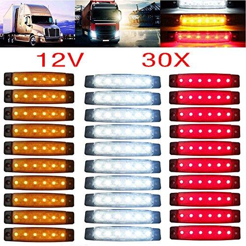 YUK 30 Stück 12/24 V 6 LED rot + weiß + gelb LKW Anhänger Seitenmarkierungsleuchten