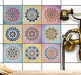 Deko Fliesen-Aufkleber | Mosaik-Fliesen Folie - Badezimmerfliesen und Küchenrückwand verschönern | Selbstklebende Fliesenbilder - Deko Fliesenmuster | 20x20 cm - Muster Motiv Indian Tiles - 9 Stück