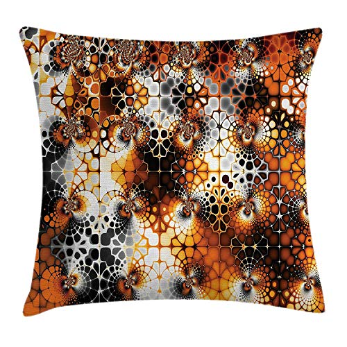 DPASIi Burnt Orange Throw Pillow Cushion Cover, Vintage Mosaic Pattern with Burnt Floral Curve Feature Abstract Graphic, Decorative Square Accent Pillow Case,Black Orange Grey 20x20inch Ut Burnt Orange
