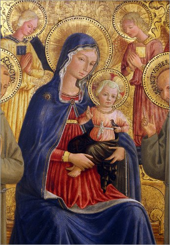 Lienzo 30 x 40 cm: Madonna and Child with St. Francis and Bernardine de Bartolomeo Caporali - cuadro terminado, cuadro sobre bastidor, lámina terminada sobre lienzo auténtico, impresión en lienzo