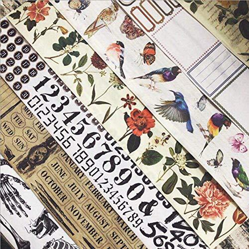 QTYYLJAbdeckband7 stücke 6 cm * 7 mt Vintage Blume und Vogel washi Klebeband DIY Dekoration Scrapbooking Planer abdeckband Klebeband Kawaii briefpapier