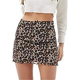 GuliriFe Mini faldas de cintura alta de las mujeres de encaje patchwork de malla de hilo Minifalda gráfica impresa una línea
