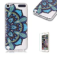 For iTouch 5/6 Case [with Free Screen Protector],Funyye Fashion lovely Lightweight Ultra Slim Anti Scratch Transparent Soft Gel Silicone TPU Bumper Protective Case Cover Shell for iTouch 5/6 - Blue Flower