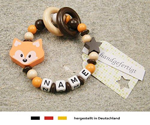 kleinerStorch Baby Greifling Beißring geschlossen mit Namen | individuelles Holz Lernspielzeug als Geschenk zur Geburt & Taufe | Mädchen & Jungen Motiv Fuchs in orange
