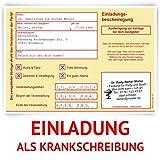 Einladungskarten zum Geburtstag (20 Stück) als Krankschreibung Krankmeldung Arbeitsunfähigkeit Karte