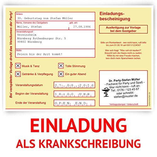 Einladungskarten zum Geburtstag (30 Stück) als Krankschreibung Krankmeldung Arbeitsunfähigkeit Karte