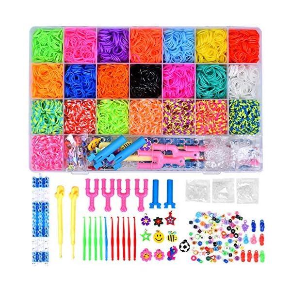 Towinle Caja Pulseras Gomas 6800 Bandas de Silicona Para Hacer Pulseras De Colores Loom Kit para Pulseras 1
