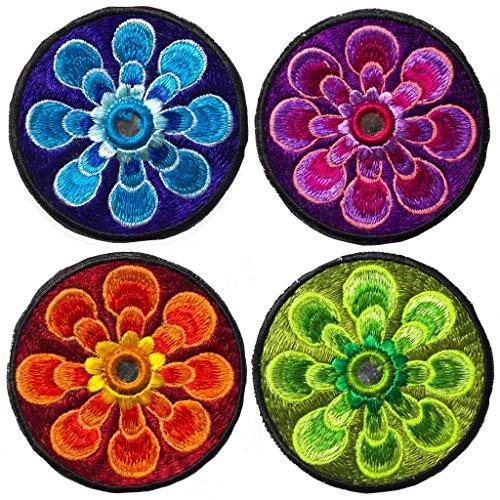 imzauber foresta 4pz flower power Patches, rosso-blu-verde-viola (8cm di diametro,