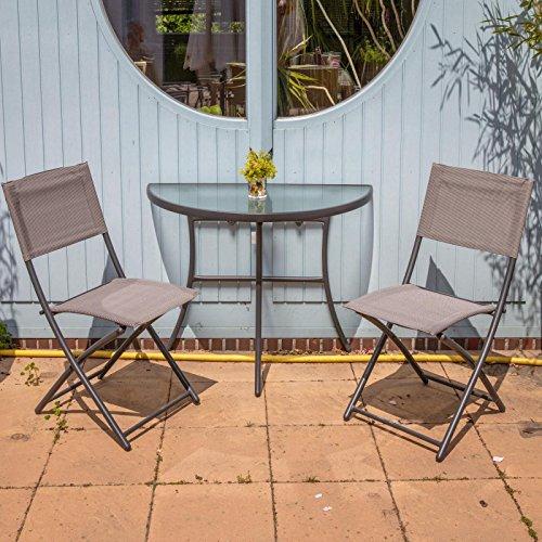 Balkonset mit Glastisch halbrund und 2 Klappstühlen - Balkongruppe 3 teilig