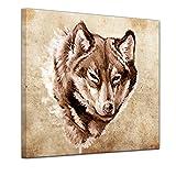 Kunstdruck - Wolf, Tattoo Art - 80x80 cm - Bilder als Leinwanddruck - Wandbild von Bilderdepot24 - Urban & Graphic - Tiere - Zeichnung eines Wolfskopfes