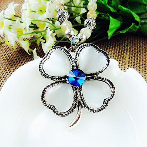 Beautiful Bead Opal Four Leaf Clover Pendant Necklace Black Beads Sweater Chain for Women(1Pcs)