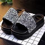 fankou Cool Zapatillas Gruesas Zapatillas de Perforación Brillante Hembra bizcocho con Zapatillas de Playa Verano Cosas Salvajes Zapatillas Mujeres,38, Plata