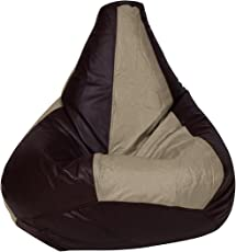 Story@Home XL Leatherite Single Seating Tear Drop Bean Bag Chair Cover Without Filler, Cream and Choco Brown