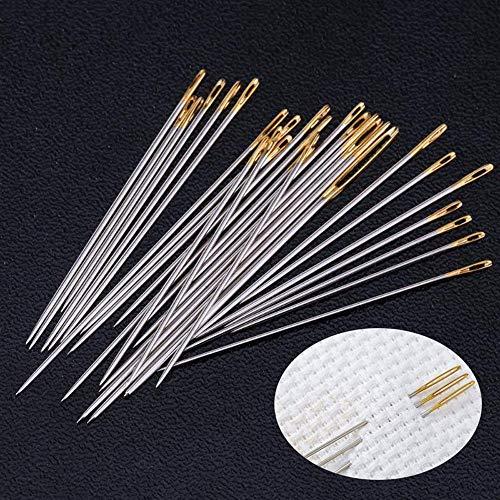 48 agujas grandes para coser a mano de piel, herramientas de reparación de alfombras, agujas de ojo dorado, bordado, accesorios de costura, agujas, manualidades