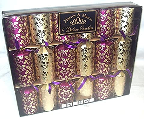 6 Large Deluxe Christmas Dinner Party Crackers (Craquelins) Gold & Purple Holly Design