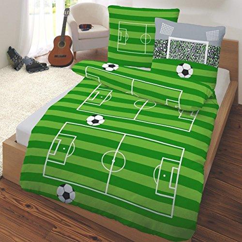 Renforce Kinder Bettwäsche FUßBALL, SPIELFELD & TOR in grün, grau 2 tlg. - Größe 80x80 + 135x200 cm - 100% Baumwolle (Fußball-fan-decke)