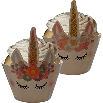 24x Unicorn Cupcake Wrap Decorating Cases Muffin Wrapper+Cake Topper Set Wedding