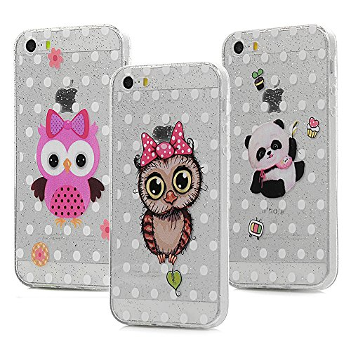 3x Cover iPhone 5S Silicone e Bling Glitter Brillanti, iPhone 5 SE Custodia Morbida TPU Flessibile Gomma - MAXFE.CO Case Ultra Sottile Cassa Protettiva per iPhone 5/5S/SE - Modello 3 Modello 3