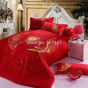 Red dragon et Phénix 100%  Coton-Lot de 4 pièces pour lit king size avec queen Housse de couette Lit comprend les draps Doudous bedsheets, elle est d'une couleur Par lot/pc