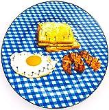 Seletti Toiletpaper flache Teller aus Porzellan mit Frühstück Dekor und Goldrand