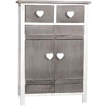 melko flur kommode in wei grau mit herzgriffen 73 cm x 31 cm x 51 cm h x b x l. Black Bedroom Furniture Sets. Home Design Ideas