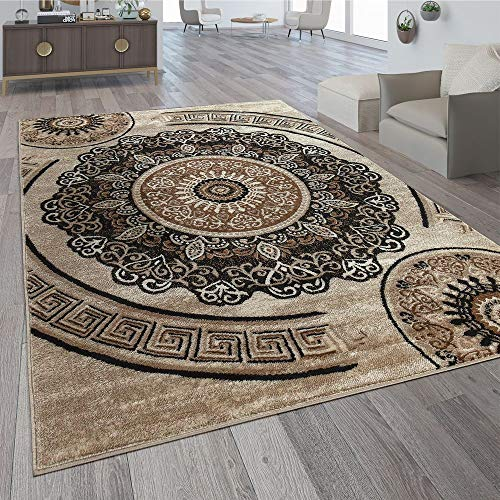 Paco Home Alfombra De Diseño Motivo De Mandala Marrón, tamaño:160x230 cm