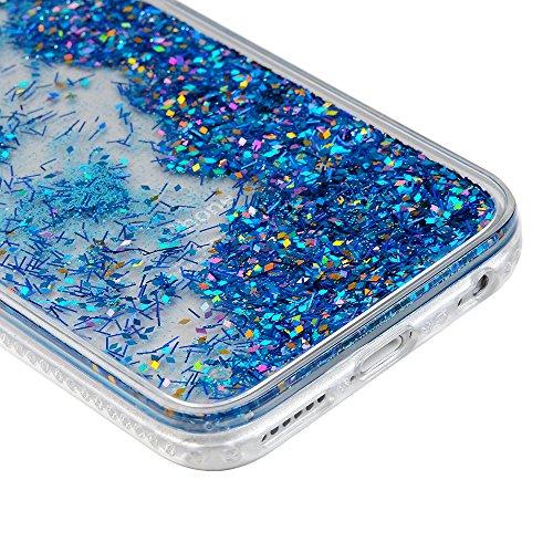Coque pour iPhone 6 6s Badalink Case Housse Étui Bumper Coque de Protection TPU Silicone Gel Transparent Souple Flexible Ultra Mince Slim Léger Anti Rayure Antichoc Housse Sable Mouvant Motif Noir + B Bleu