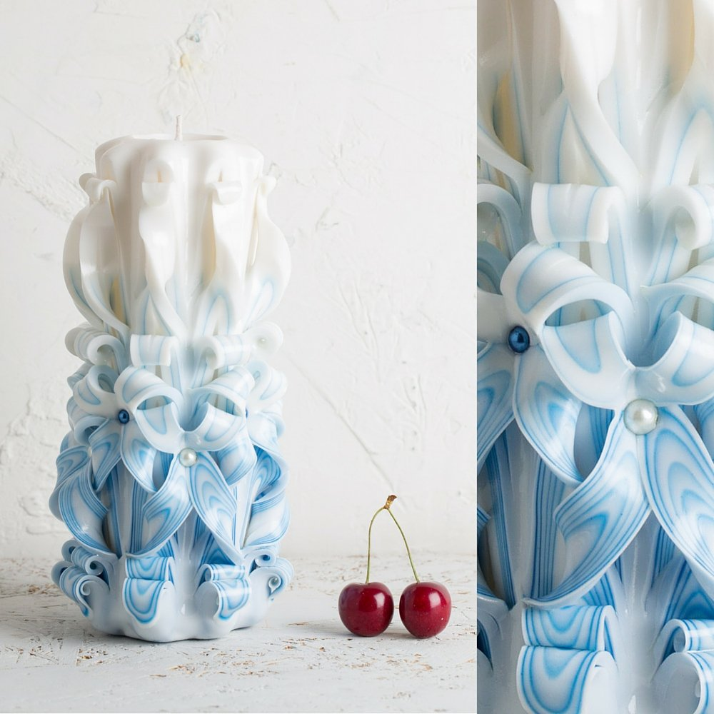 Vela Tallada de Boda para Novio – Centro de Mesa Decorativo – Blanco y Azul – EveCandles