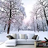 HONGYAUNZHANG Weiße Bäume Schnee Szene Benutzerdefinierte Fototapete 3D Stereoskopische Wandbild Wohnzimmer Schlafzimmer Sofa Hintergrund Wand Wandbilder,290Cm (H) X 370Cm (W)