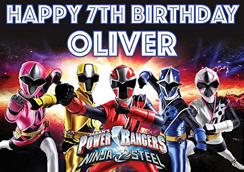 Personalisierte Power Rangers V4Geburtstag Banner Poster Custom Design groß A01189mm X 841mm (119,4x 83,8cm/118.9cm x 84.1cm) jedes Alter Plus Text können hinzugefügt werden (Custom Power Ranger)