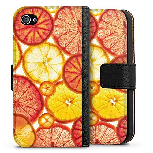 Apple iPhone X Silikon Hülle Case Schutzhülle Zitrone Orange Sommer Sideflip Tasche schwarz