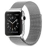 MINLUK Armband für Apple Watch 38mm/42mm, Edelstahl Netzstruktur Ersatzarmbänder mit Magnetverschluss für iWatch Series 4 Series 3 Series 2 Series 1 (38, Silber)