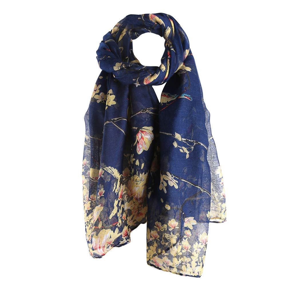 A Hundred Birds Contend For The Bali Yarn Printed Women Long Scarf Warm Wrap Shawl