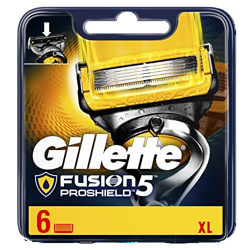 Gillette Fusion5 ProShield Razor Blades for Men with Lubrication Before and After The Blades, 6 Refills (Packaging May Vary)
