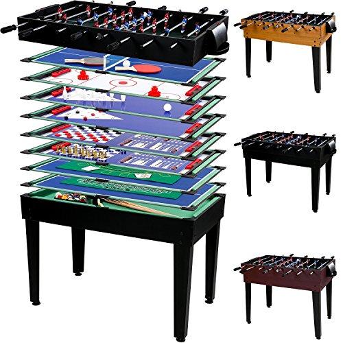 Maxstore Multigame Spieletisch Mega 15 in 1, inkl. komplettem Zubehör, Spieltisch mit Kickertisch, Billardtisch, Tischtennis, Speed Hockey uvm. in schwarzem - Shuffleboard-pins