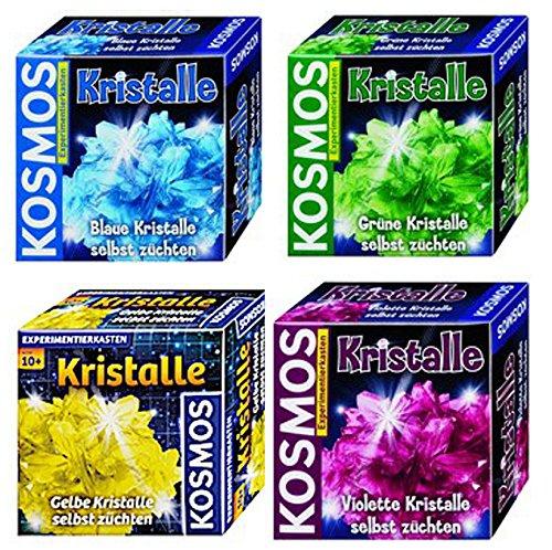 Kristalle selbst züchten blau + grün + gelb + violett Kosmos