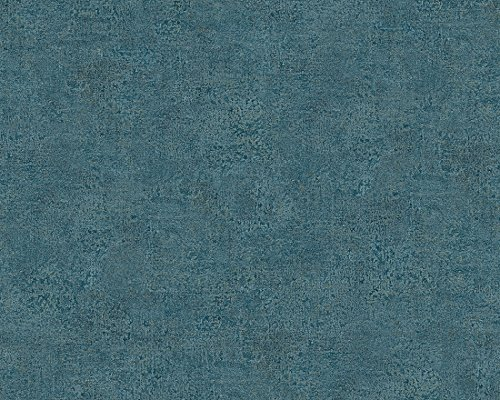 A.S. Création Vliestapete Bohemian Burlesque Tapete Uni 10,05 m x 0,53 m blau Made in Germany 960793 96079-3